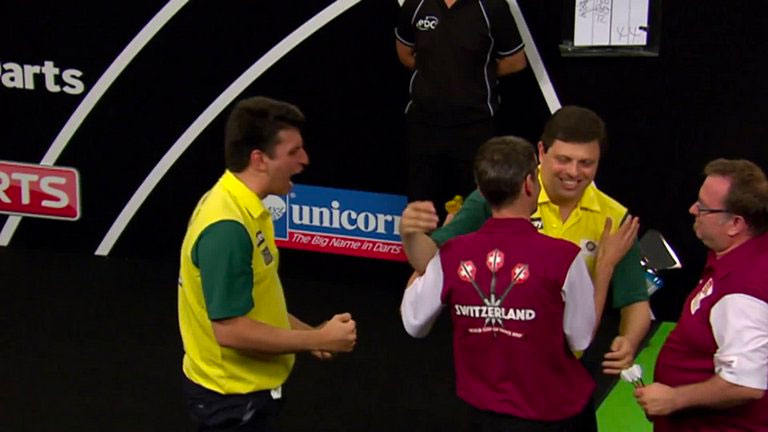 Brazil progressed yesterday and face Germany at Day Three of the 2017 World Cup of Darts. Photo Credit: Sky Sports