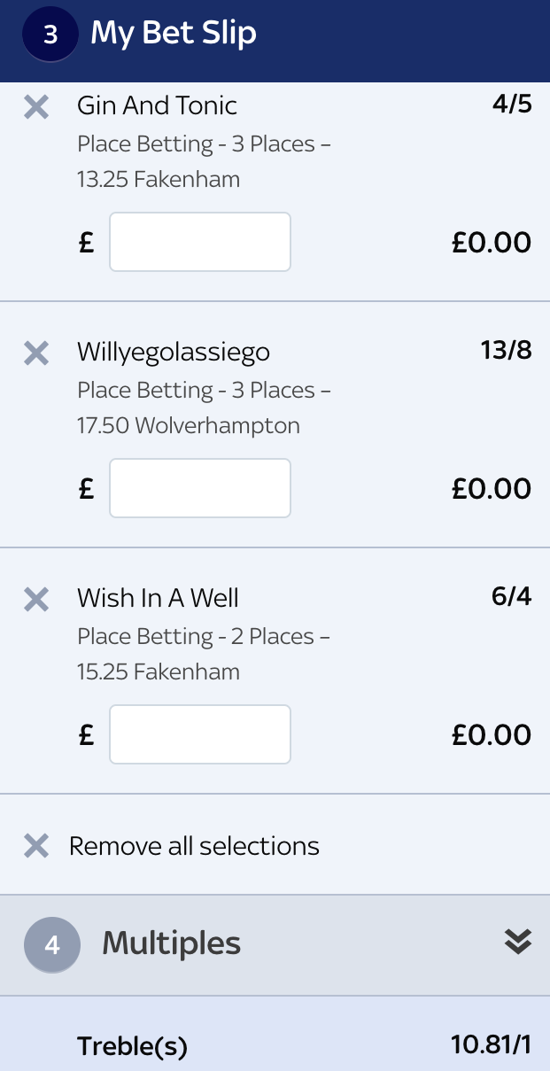 Monday 22nd January - Horse Racing Pro Tip Bet Slip