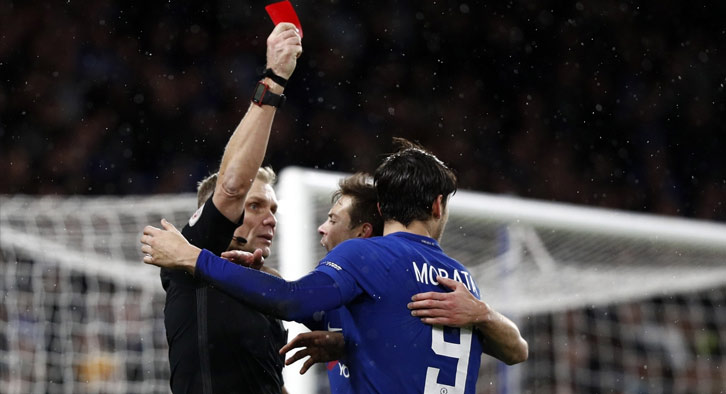 Morata has seen more red cards than goals in his last 6 games for the blues.