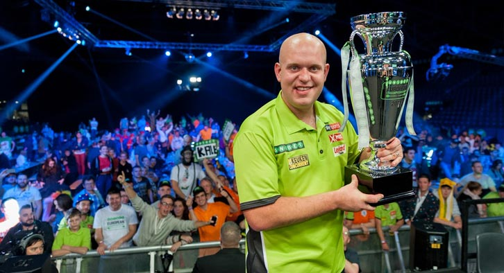 Michael Van Gerwen fresh from his pdc player of the year award. Photo Credit: Twitter - @MvG180