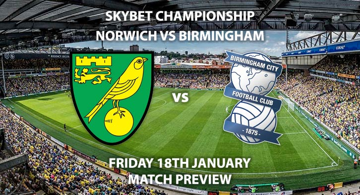 Match Betting Preview - Norwich City vs Birmingham City. Friday 18th January 2019, SkyBet Championship, Carrow Road. Live on Sky Sports Main Event - Kick-Off: 19:45 GMT.