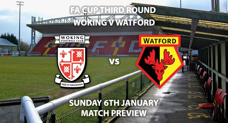 Match Betting Preview - Woking vs Watford. Sunday 5th January 2019, FA Cup Third Round, Kingfield Stadium. Live on BT Sport 2 - Kick-Off: 14:00 GMT.
