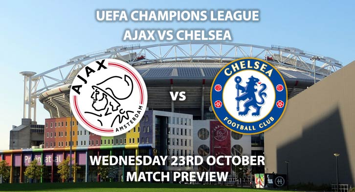 Ajax vs Chelsea - Wednesdsy 23rd October 2019, UEFA Champions League. Johan Cruijff Arena. Live on BT Sport 3 – Kick-Off: 17:55 BST.